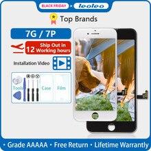 LEOLEO 10 adet/grup beyaz ve siyah kaliteli AAAAA marka yeni iPhone 7 için 7G i7 4.7 LCD ekran dokunmatik ekran Digitizer meclisi + hediye