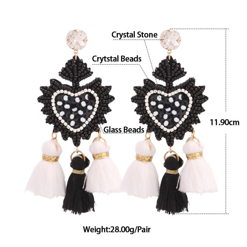 Luxury Drop Earrings for Women Big Rose Beads Earrings Love Heart Evil Women Dangle Earrings Fashion Jewelry (1)