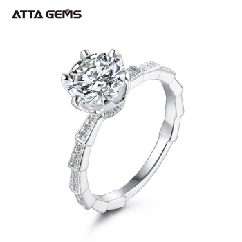 ATTAGEMS 925 Sterling Silver Moissanite Ring 2ct D Color Moissanite Diamond Women's Engagement Ring Pass Diamond Test
