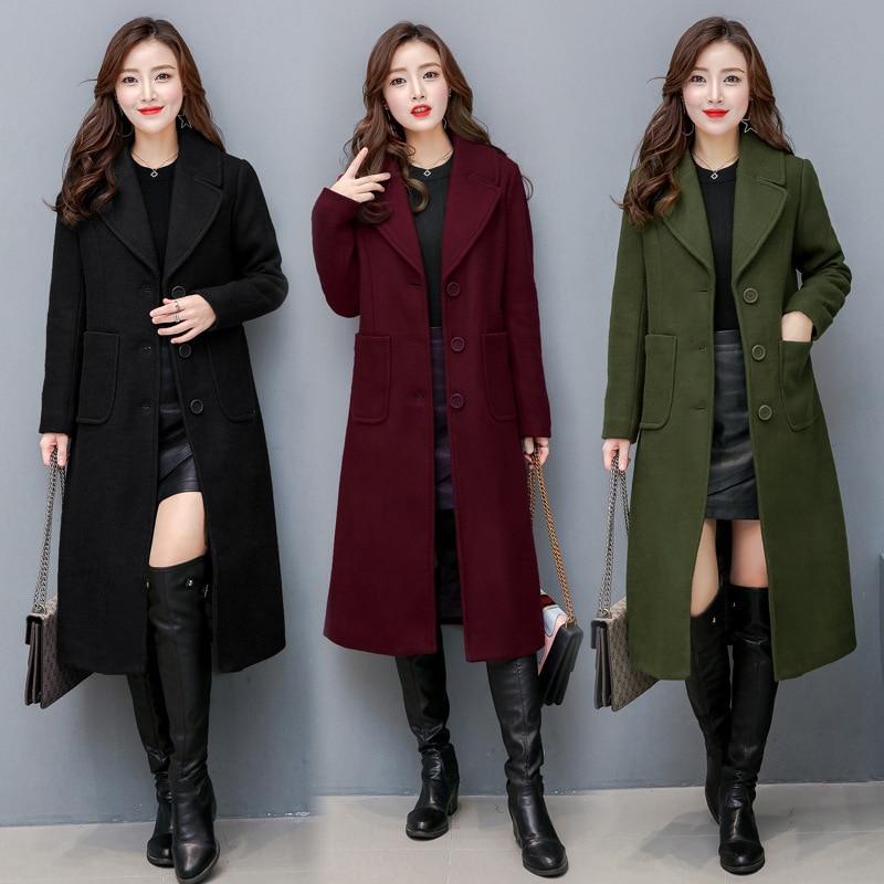 Winter Women Woolen Overcoat New Long Sleeves Woolen Coat 2019 New Large Size Female Long Section Thick Woolen Coat D190802