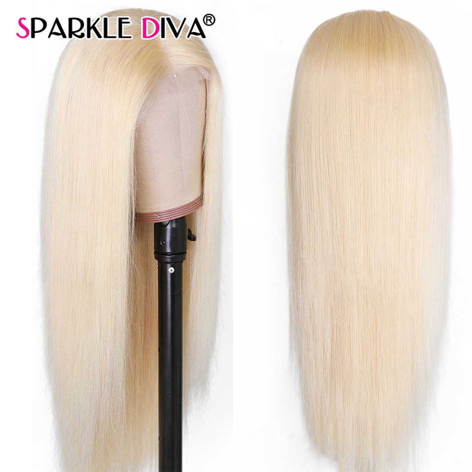 613 blond koronkowa peruka na przód brazylijski proste włosy ludzkie peruki dla kobiet środkowa część 13*1 koronkowa peruka na przód 613 miód blond Remy