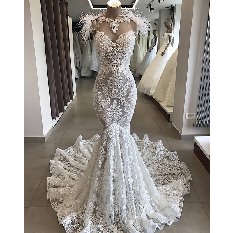 Luxury Beaded Mermaid Wedding Dresses 2019 With Feather Appliqued Backless Wedding Gowns Court Train Bride Dress Robe De Mariee