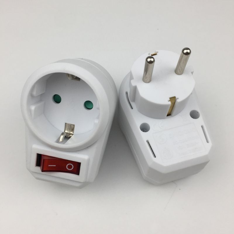European Conversion Plug 1 To 1 Way Power Adapter Adaptor With Switch 16A AC250V Y98E