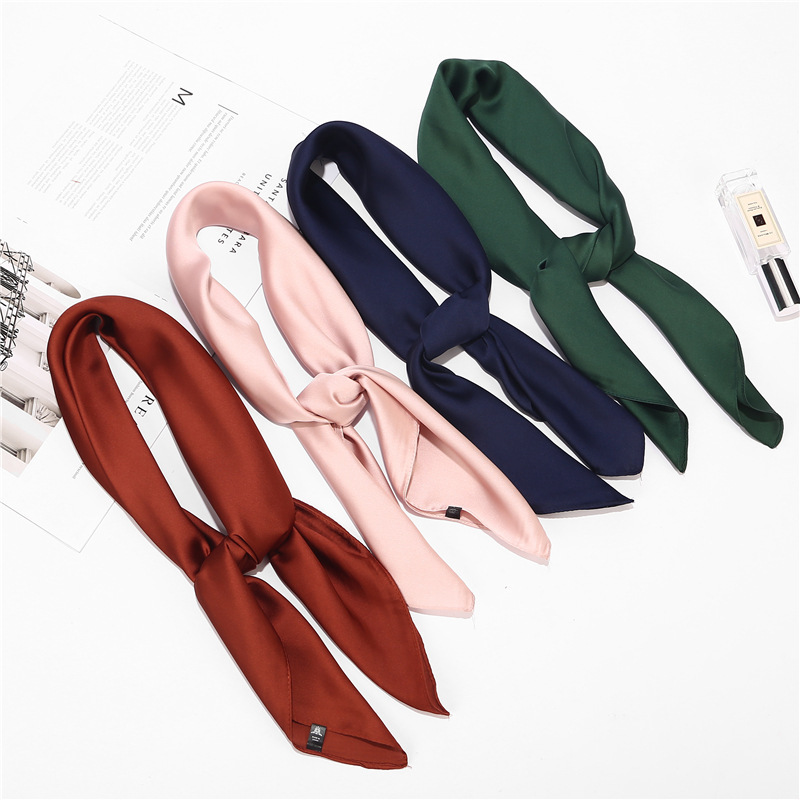Solid Color Small Square  Silk Scarves Towel Women's  Satin Fabric Simple Versatile Business Neckerchief 70*70cm