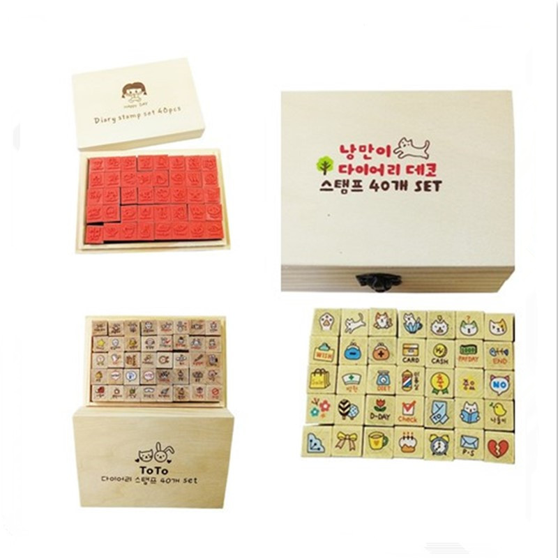 40pcs/set Three Design Cute Animal And Beautiful Girl Vintage Stamp Wooden Photo Album Alphabet Stamps