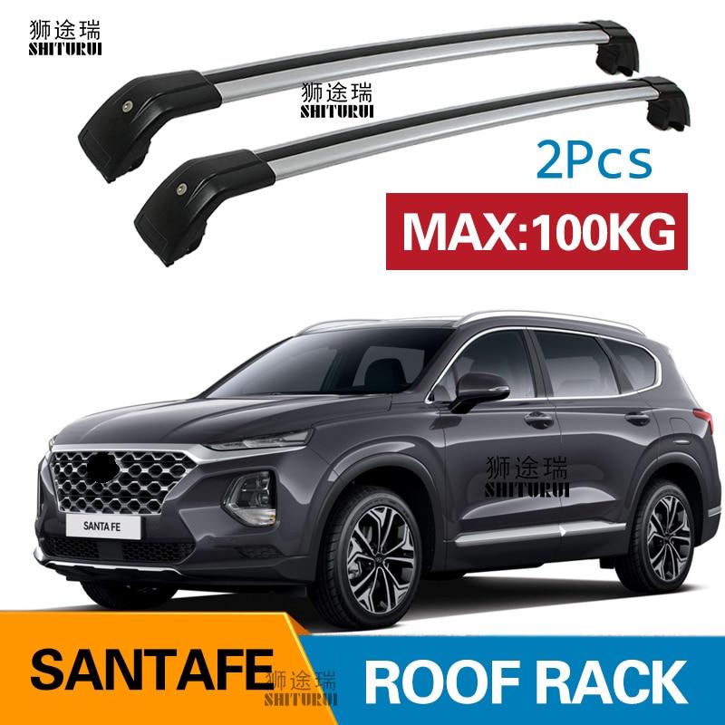 For SANTA FE XL 2013-2018 Black Top Roof Rack Baggage Luggage Cross Bar Crossbar