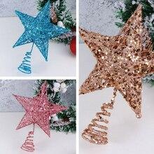 Украшение для рождественской елки, блестящая подвеска в виде пятиконечной звезды, украшения для новогодней елки, вечерние украшения для дома