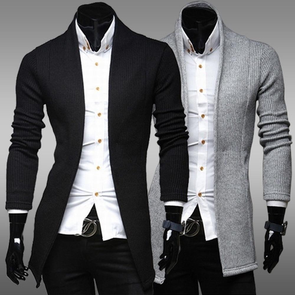 ZOGAA 2019 Men's Spring Winter Sweater Casual Simple Cardigan Sweater Full Length Slim Fit Designer Sweaters Outwear Coats Men