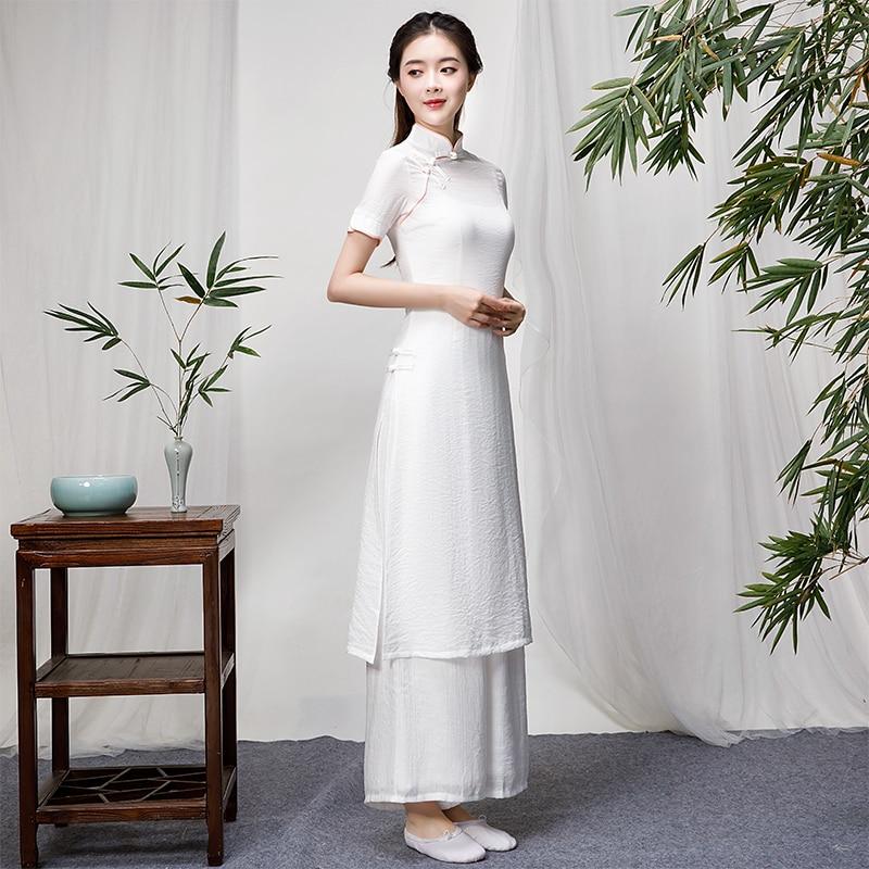 2019 Ao Dai Set Asian Clothes Vietnam Clothing Ao Dai Vietnam Robes And Pants Pieces Suit Vietnam Costumes Improved Cheongsam