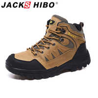 Jackshibo sapatos de caminhada ao ar livre dos homens montanhista escalada tênis à prova dwaterproof água tático caminhadas botas