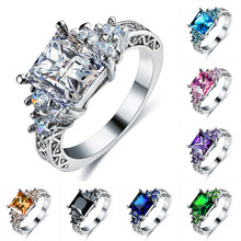 Classic Female Blue Crystal Stone Ring Charm Silver Hollow Rainbow Wedding Rings For Women Vintage Bridal Square Engagement Ring bocai silver makeup india nepal bali silver acts the role of by hand rainbow blue moon stone ring