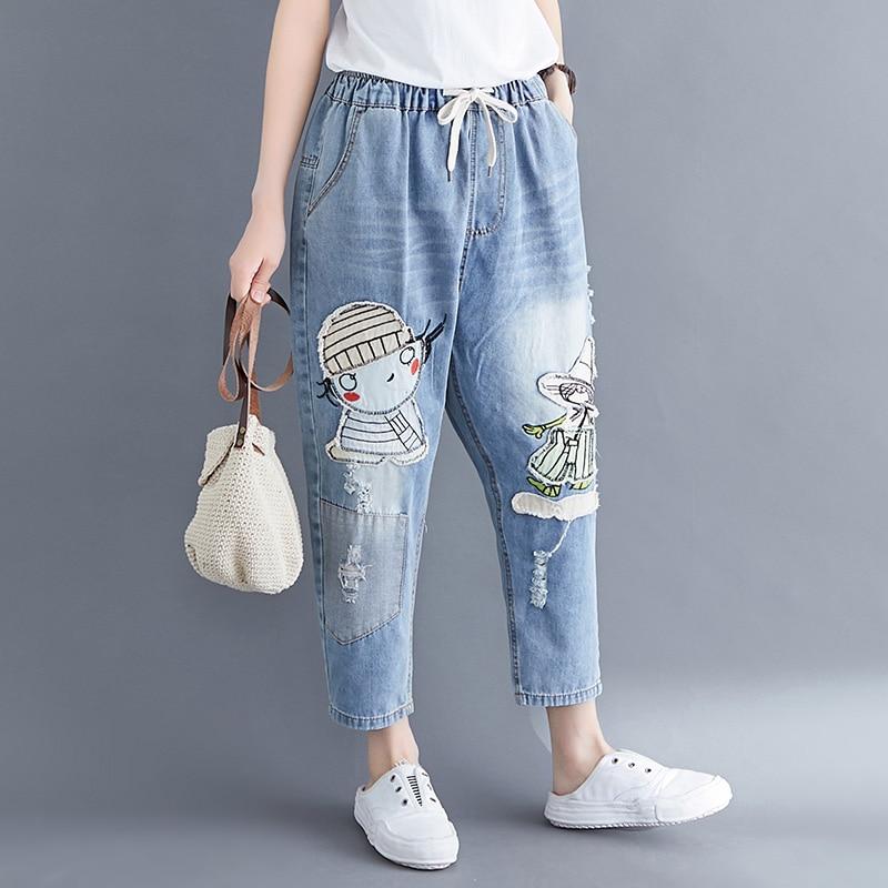 Elastic Waist Plus Size Jeans For Women 2020 Spring Casual Loose Ladies Ankle-Length Vintage Cartoon Cowboy Denim Harem Pants