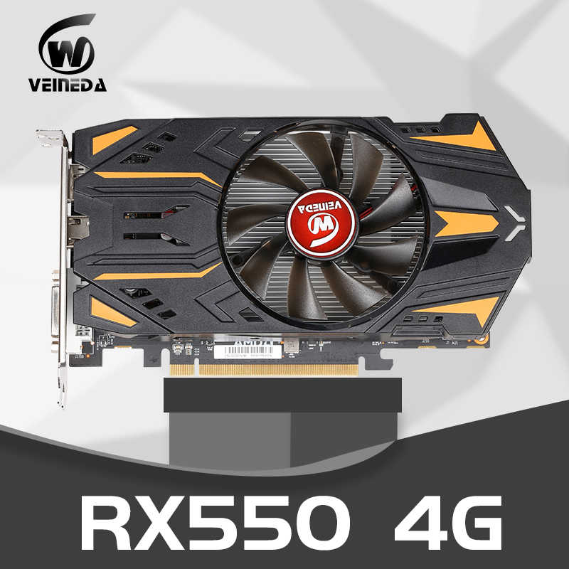 VEINEDA RX550 4GB GDDR5 128bit PCI-E 3.0 HDMI DisplayPort DVI-D nVIDIA Geforce 게임용 1071/6000MHz 그래픽 카드