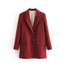ZXQJ-Chaqueta holgada vintage para mujer, trajes de moda para mujer, chaqueta informal con cuello con muescas, traje para niña 2020