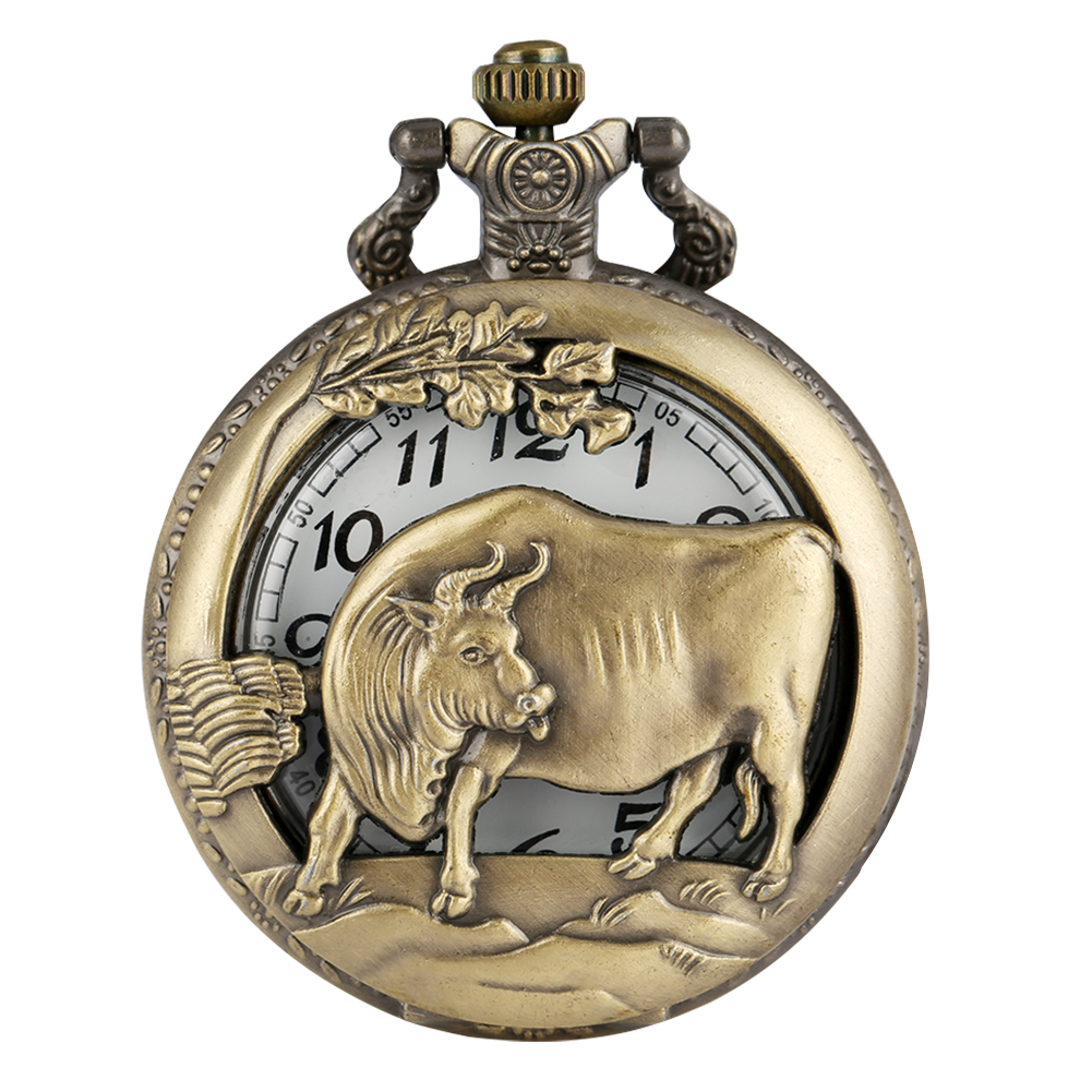 Vintage Chinese Zodiac Cow Quartz Pocket Watch Half Hunter Pendant Watch Necklace Fob Chain Antique Collection Clock Unisex