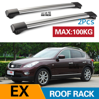 2Pcs Roof Bars for Infinitit EX 2007- 2019  2012Aluminum Alloy Side Bars Cross Rails Roof Rack Luggage CUV SUV LED