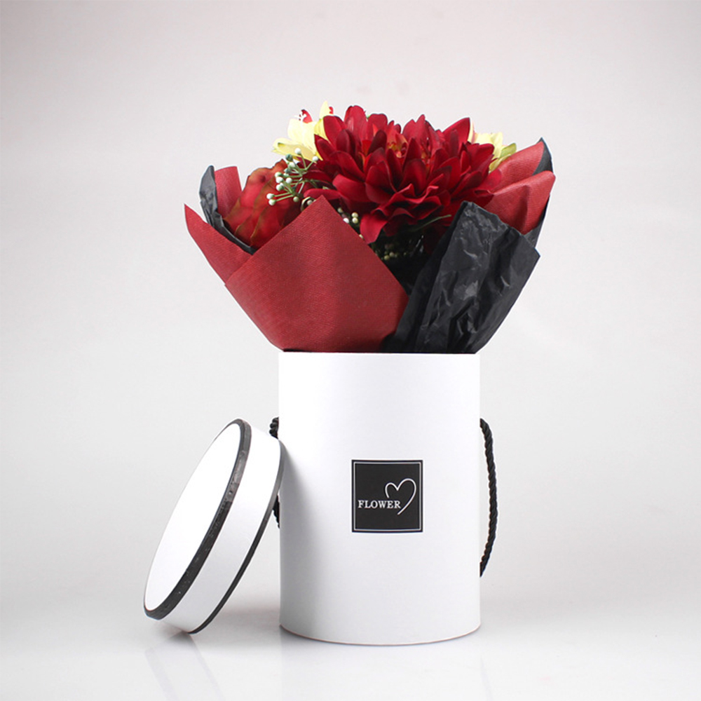 Ladies Presents Box Handheld Flowers Bouquet Gift Storage Boxes Mini Paper Packing Case Lid Hug Bucket Vase Bucket With Rope
