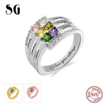 Customized Jewelry 925 Sterling Sliver Rings Personal0ized Engraved Family Ring with Six Birthstone uny ring 925 sterling silver mother customized engrave rings family heirloom ring anniversary personalized love birthstone rings
