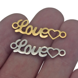 5 шт./лот, подвески из нержавеющей стали, золотые сердечки, фурнитура для самостоятельного изготовления ювелирных изделий, соединитель брас...
