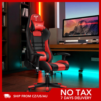 Furgle Gaming Office Chairs 180 Degree Reclining Computer Chair Comfortable Executive Computer Seating Racer Recliner PU Leather