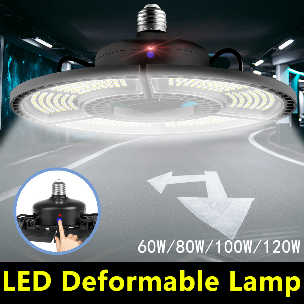 WENNI LED Garage Light E27 60W 80W 100W 120W UFO LED Lamp 110V E26 Deformable LED Bulb 220V High Lumen Light Bulb For Factory