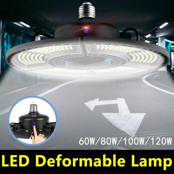 WENNI luz LED para garaje E27 60W 80W 100W 120W lámpara LED con forma de OVNI 110V E26 Deformable bombilla LED 220V de alta Lumen bombilla de luz para la fábrica
