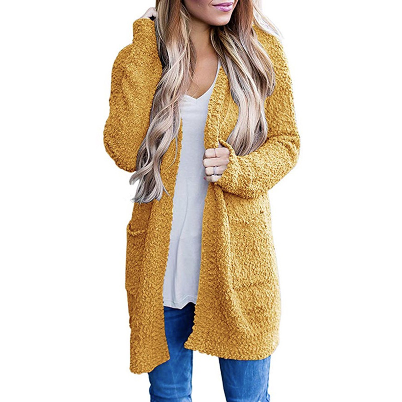 2019 New Arrival Cotton Solid Cardigan Long Sleeve Knitted Sweater Autumn Winter Fashionable Casual Yellow V-Neck Pullover