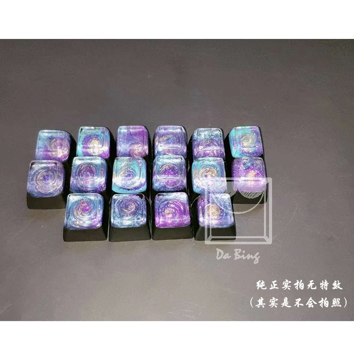 1 Piece Customized Mechanical Keyboard Key Cap Resin Manual Keycap Personality Backlit Starry Sky For Cherry Filco R4 Height