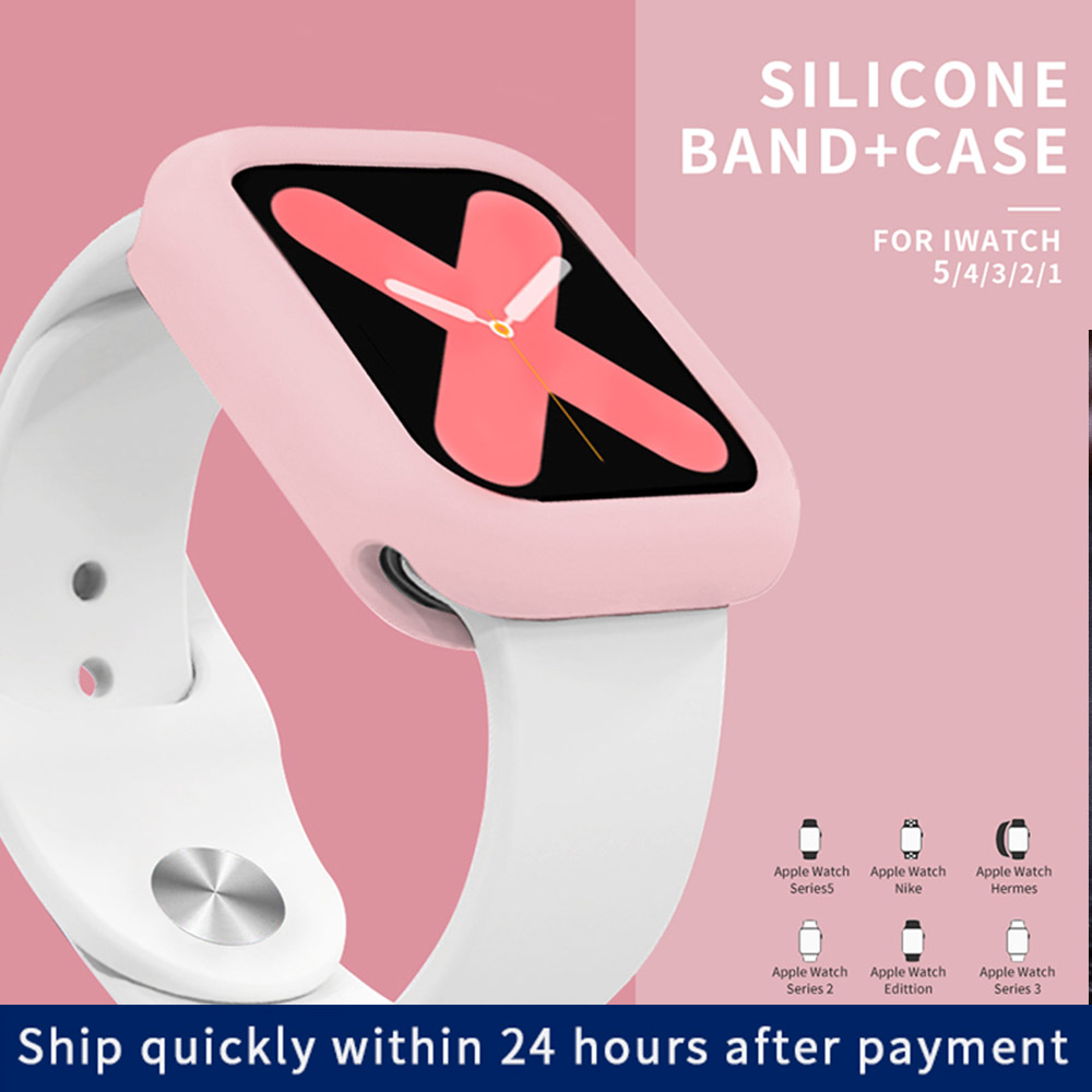 Band+Case For Apple Watch Strap Series 5 4 44mm 40mm Sports Replaceable Bracelet Watchband For Iwatch Series 3/2/1 42mm 38mm