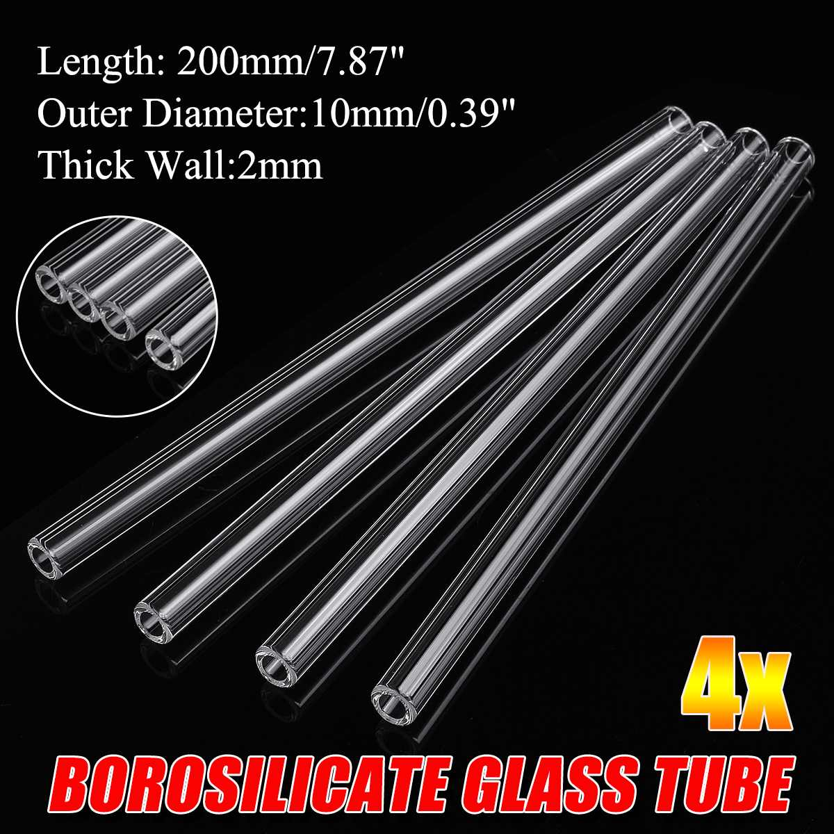 4x 200mm OD 10mm 2mm Thick Wall Borosilicate Glass Blowing Tube Thick Transparent Wall Borosilicate Glass Blowing Tube Mixer