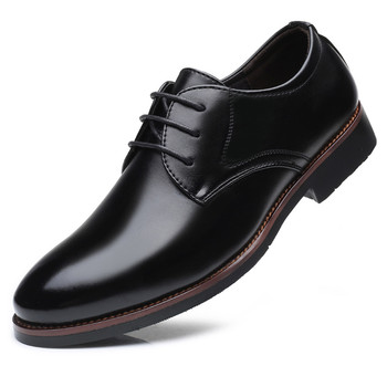 New fashion men's leather shoes with breathable business casual non-slip men's dress shoes classic single shoes