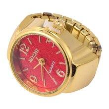 1 pc retro anel em forma de relógio moda requintado relógio de quartzo digital anel relógio para homem mulher (vermelho dourado)