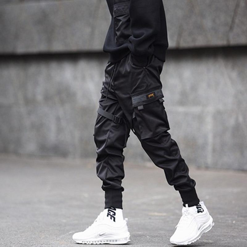 New Black Cargo Pants Hip Hop Boys Multi-pocket Elastic Waist Harem Pant Men Streetwear Punk Trousers Jogger Male Tactical Pants