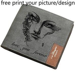 Новый мужской кошелек, короткий, Молодежный, с несколькими отделениями для карт, тонкий, с бесплатным рисунком, персонализированный, с грави...
