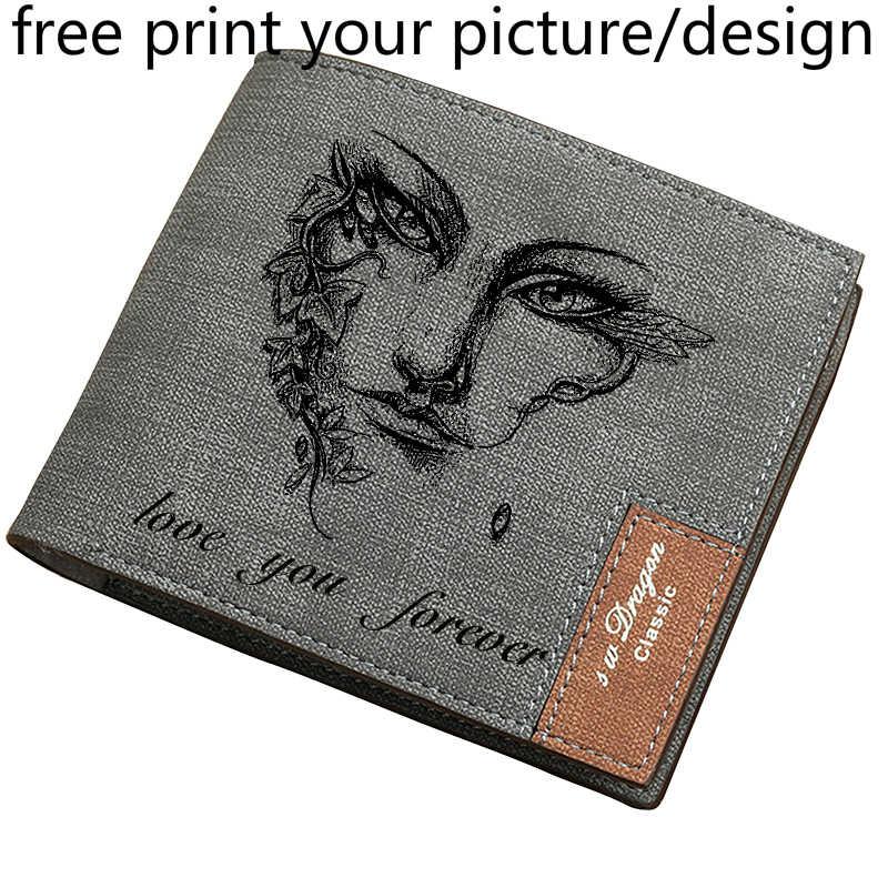Carteira masculina nova juventude curta multi-card posição fina impressão de imagem livre personalizado letras gravadas foto carteira