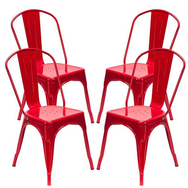 4PCS Industrial Style Red Chair  2