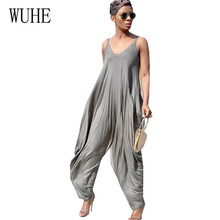 WUHE Loose Casual Fashion Jumpsuits Sexy Sleeveless Hollow Out Femme Retro Long Rompers Women Summer High Streetwear Playsuits