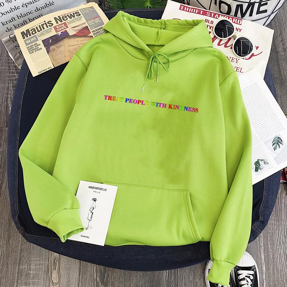 Treat People with Kindness Sweatshirt Streetwear Fashion Tops Letter Pullovers Women 2020 Harry Styles Hoodies Aesthetic 1