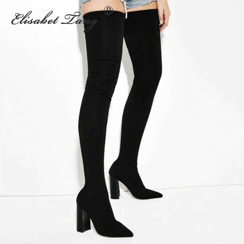 Elisabet Tang bottes au genou pour femmes chaussures bout pointu talons hauts longues cuissardes bottes noir Sexy bout pointu