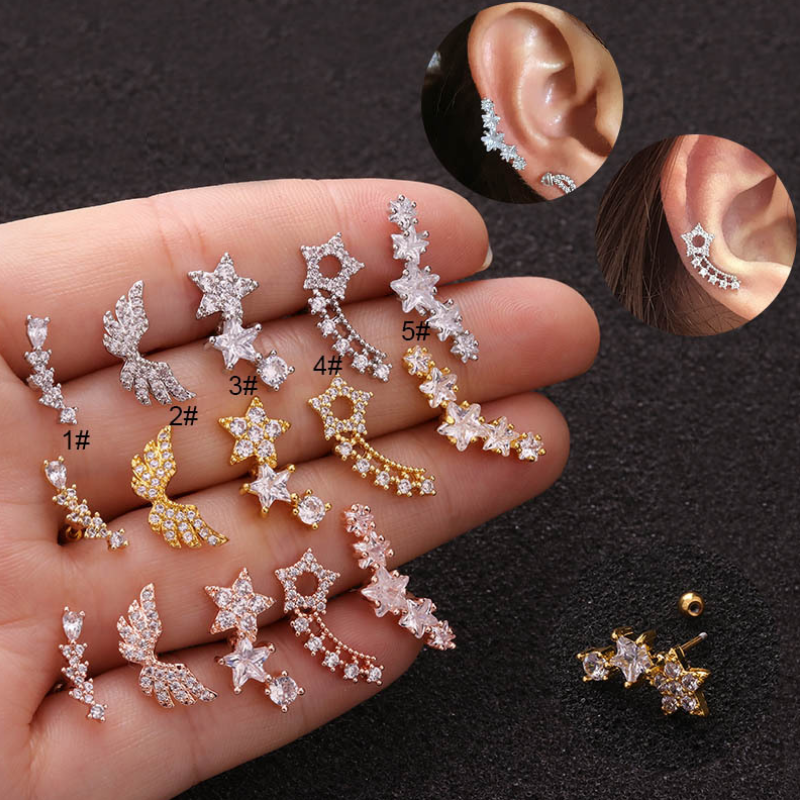 2Pcs Rose Gold Silver Color Cz Star Flower Cartilage Stud Helix Rook Conch Screw Back Earring Stainless Steel Piercing Jewelry