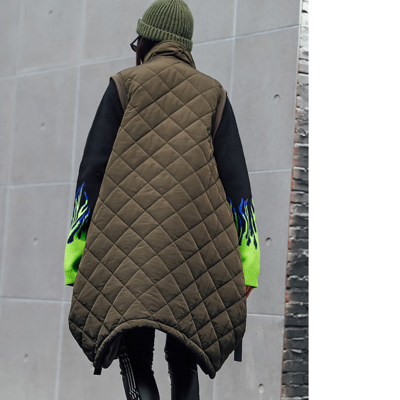 Image 3 - Vefadisa Winter Flocking Sleeveless Vest Woman 2019 Zippers  Pockets Vest Coat Loose Cotton padded Vest Black Brown QYF1262Vests
