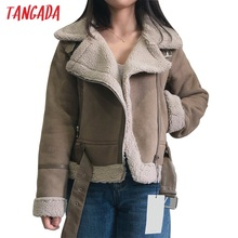Tangada 2020 New Winter Women brown fur faux leather jacket coat with belt Ladies Thick Warm Oversized Coat 5B02