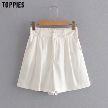 Toppies Summer Shorts High Waist Wide Leg Shorts Womens Elastic Waist Solid Color Casual Streetwear