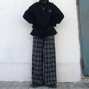 ZSIIBO spodnie dla kobiet sprawdzone czarne luźne spodnie w stylu Hip Hop kobiet 2020 koreański styl Plus Size biegaczy kobiet spodnie w spodnie kobiet tanie i dobre opinie HIZILENT Poliester spandex Pełnej długości CN (pochodzenie) Zima CK31099 Plaid Proste Mieszkanie Osób w wieku 18-35 lat