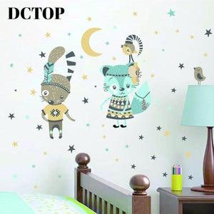 Lovely Tribe Mr Rabbit and Ms Cat Sticker Children kid Moon Stars Decals Home Wall Art Bedroom Nursery Room Door Decor Wallpaper(China)