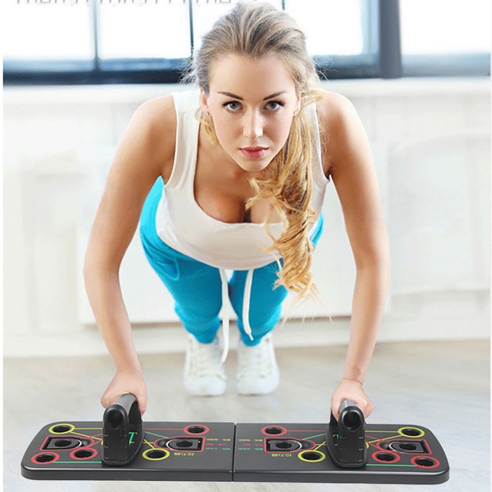9 In 1 Adjustable Push Up Board With Resistance Band Foldable Exercise Push-up Stand Home Training Fitness Equipment
