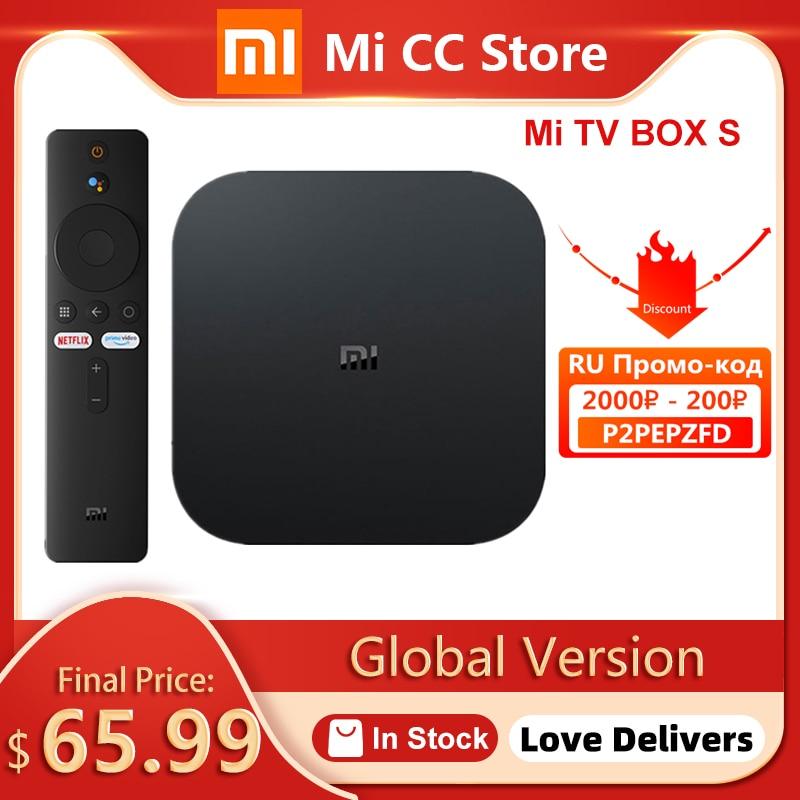 Глобальная версия Xiaomi Mi TV Box S 4K со сверхвысоким разрешением Ultra HD, приставка Android TV 9,0 HDR 2 ГБ 8 ГБ Wi-Fi Google Cast Netflix Smart Mi Box S Media Player