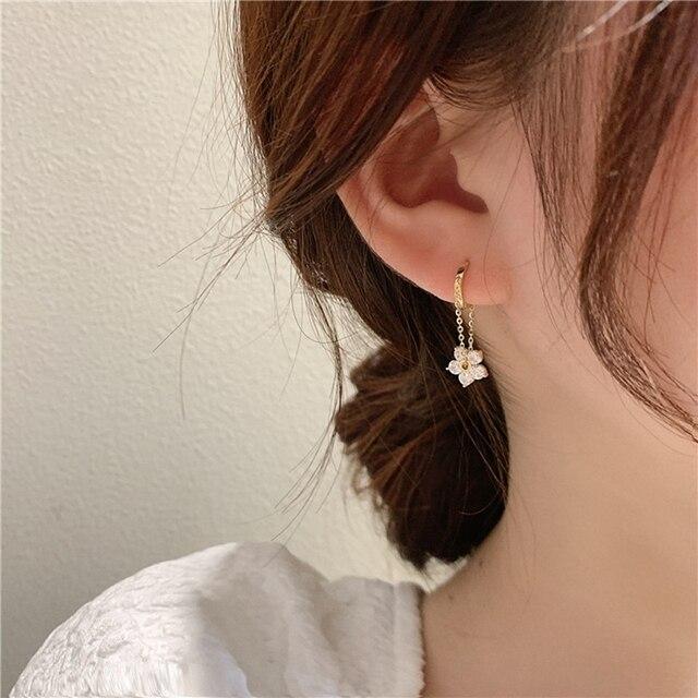 MENGJIQIAO Korean Elegant Zircon Flower Hoop Earrings For Women Girls Fashion Metal Chain Boucle D'oreille Oorbellen Jewelry 1