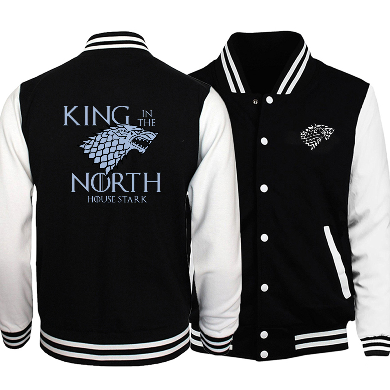 Men Game Of Thrones Printed Trend Black Baseball Jackets Fleece Long Sleeve Sweatshirts 2019 Autumn Winter Warm Outwear Jackets