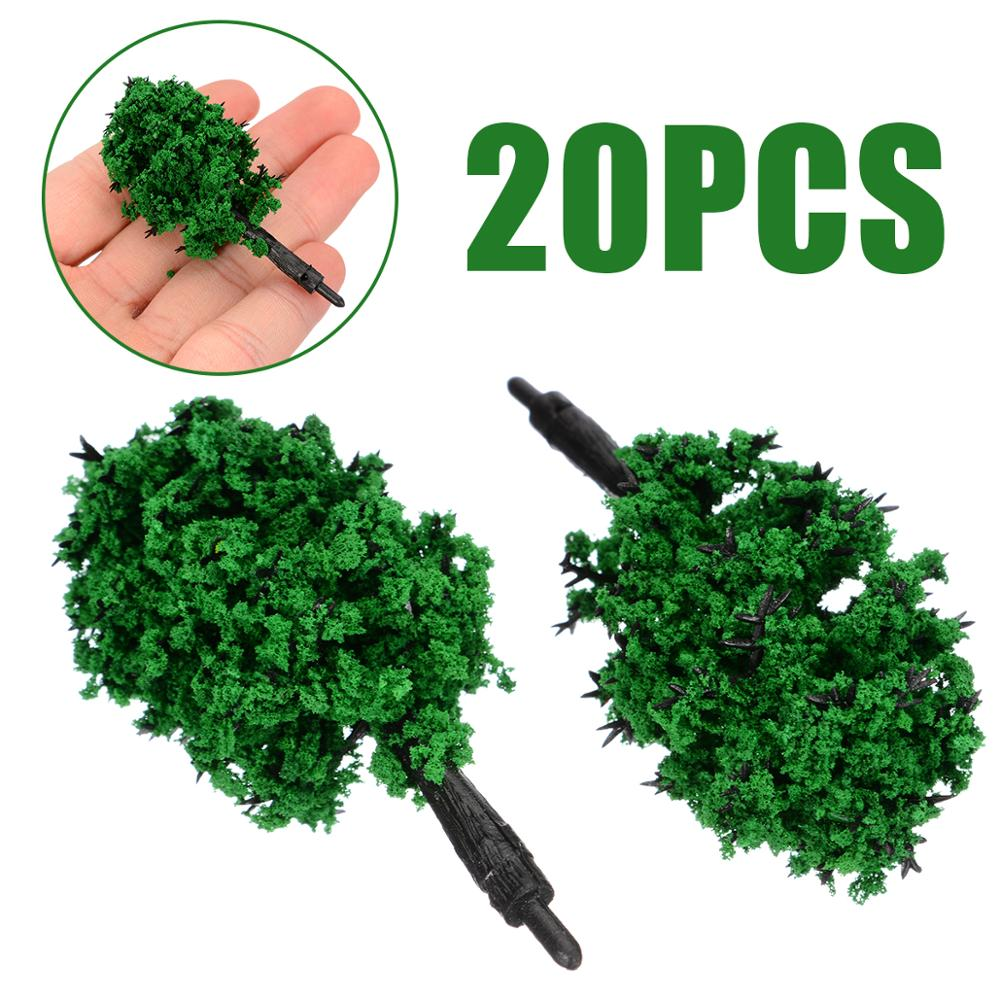 20pcs 60mm Scale Model Trees For Miniature Scenery Pine Trees For Building Layout Trains Road Landscape Tree